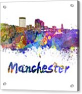 Manchester Nh Skyline In Watercolor Acrylic Print