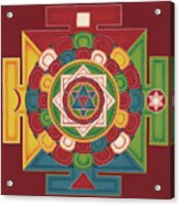 Mandala Of The 5 Elements Earth-water-fire-air-space Acrylic Print by Carmen Mensink