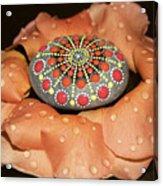 Mandala Stone In Rose Petals Acrylic Print