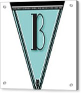 Pennant Deco Blues Banner Initial Letter B Acrylic Print