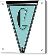 Pennant Deco Blues Banner Initial Letter G Acrylic Print