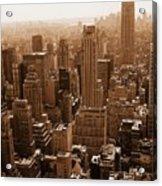 Manhattan Aerial Sepia Acrylic Print