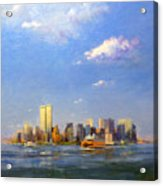 Manhattan And Twin Towers From New York Harbor Acrylic Print