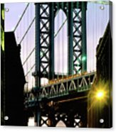Manhattan Bridge And Empire State Building Acrylic Print