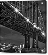 Manhattan Bridge Frames The Brooklyn Bridge Acrylic Print by Susan Candelario