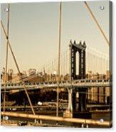 Manhattan Bridge From The Brooklyn Bridge  Acrylic Print