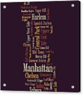 Manhattan New York Typographic Map Acrylic Print by Michael Tompsett