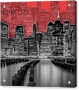 Manhattan Skyline - Graphic Art - Red Acrylic Print
