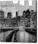 Manhattan Skyline - Graphic Art - White Acrylic Print