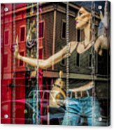 Mannequin In Storefront Window Display With No Escape Acrylic Print