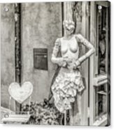 Mannequin On The Street Bw Acrylic Print