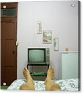 Man's Legs On A Bed In Front Of An Old Tv Acrylic Print