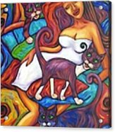 Maori Girl And Three Cats Acrylic Print