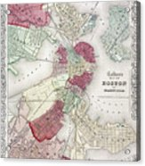 Map: Boston, 1865 Acrylic Print