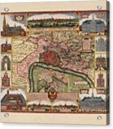 Map Of Antwerp 1675 Acrylic Print