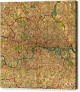 Map Of London England United Kingdom Vintage Street Map Schematic Circa 1899 On Old Worn Parchment  Acrylic Print