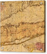 Map Of Long Island New York State In 1842 On Worn Distressed Canvas  Acrylic Print