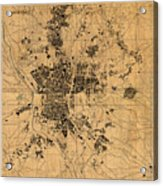 Map Of Madrid Spain Vintage Street Map Schematic Circa 1943 On Old Worn Parchment  Acrylic Print