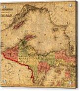 Map Of Michigan Upper Peninsula And Lake Superior Vintage Circa 1873 On Worn Distressed Canvas  Acrylic Print