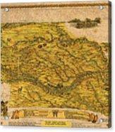 Map Of Nebraska 1954 Omaha Cornhusker State Aerial View Illustration Cartography On Worn Canvas Acrylic Print
