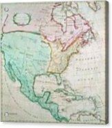 Map Of North America Acrylic Print by English School