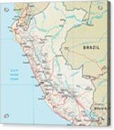 Map Of Peru 2 Acrylic Print