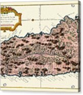 Map Of Saint Lucia 1758 Acrylic Print