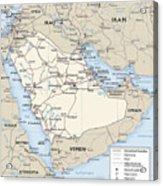 Map Of Saudi Arabia 2 Acrylic Print