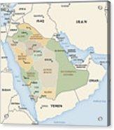 Map Of Saudi Arabia Acrylic Print