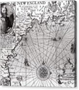 Map Of The Coast Of New England Acrylic Print by Simon de Passe