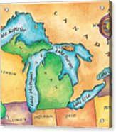 Map Of The Great Lakes Acrylic Print