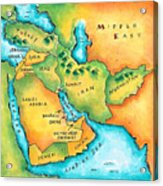 Map Of The Middle East Acrylic Print