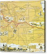 Map Of The Old Oregon Trail Acrylic Print