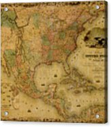 Map Of The United States 1849 Acrylic Print