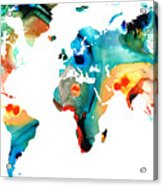 Map Of The World 11 -colorful Abstract Art Acrylic Print