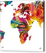 Map Of The World 2 -colorful Abstract Art Acrylic Print