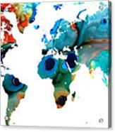 Map Of The World 6 -colorful Abstract Art Acrylic Print by Sharon Cummings