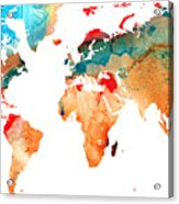 Map Of The World 7 -colorful Abstract Art Acrylic Print