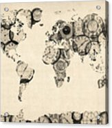 Map Of The World Map From Old Clocks Acrylic Print