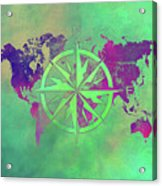 Map Of The World Wind Rose 3 Acrylic Print