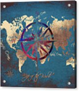 Map Of The World Wind Rose 4 Acrylic Print