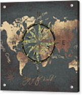 Map Of The World Wind Rose 5 Acrylic Print