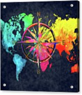 Map Of The World Wind Rose 6 Acrylic Print