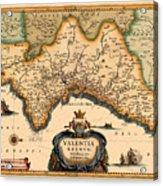 Map Of Valencia 1634 Acrylic Print