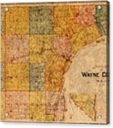 Map Of Wayne County Michigan Detroit Area Vintage Circa 1893 On Worn Distressed Canvas  Acrylic Print