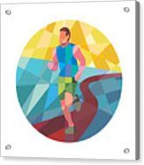 Marathon Runner In Action Circle Low Polygon Acrylic Print