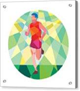 Marathon Runner Running Circle Low Polygon Acrylic Print