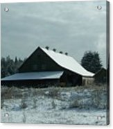 March Snows On The Barn Acrylic Print