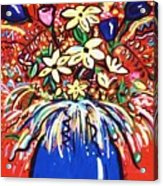 Mardi Gras Floral Explosion Acrylic Print