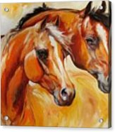 Mare And Stallion  By M Baldwin Sold Acrylic Print by Marcia Baldwin